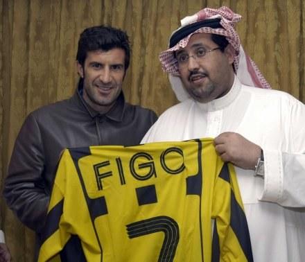 Luis Figo i prezes klubu Al-Ittihad Mansour al-Balwi /AFP