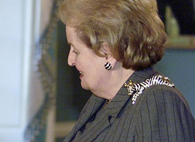 Madeleine Albright z broszką w kształcie zebry /AFP