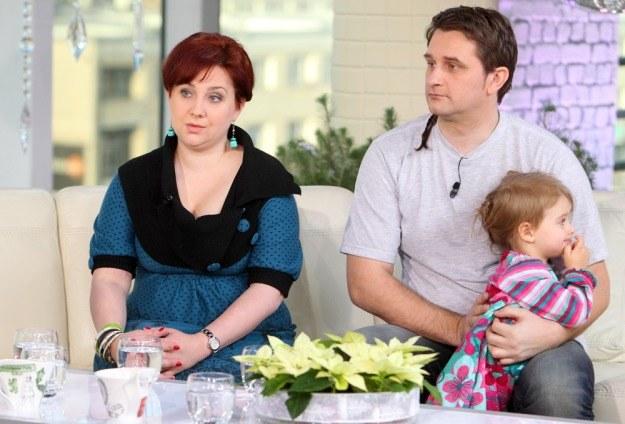 Magdalena Sipowicz z mężem i córką w programie Dzień Dobry TVN, fot. J. Kucharzyk /East News