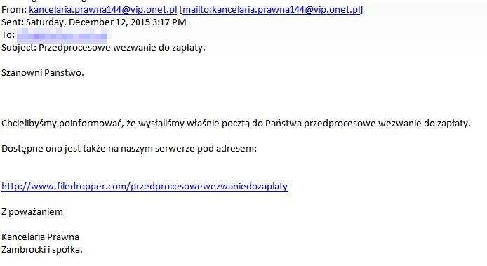 Mail z linkiem, w który nie należy klikać /materiały prasowe