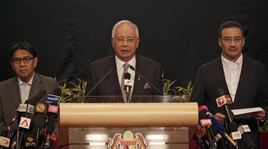 Malezyjski premier Najib Razak w czasie konferencji prasowej /AHMAD YUSNI /PAP/EPA