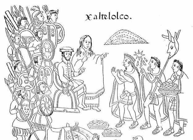 Malinche i Cortez w Tlatelolco na ilustracji z History of Tlaxcala z 1585 roku /