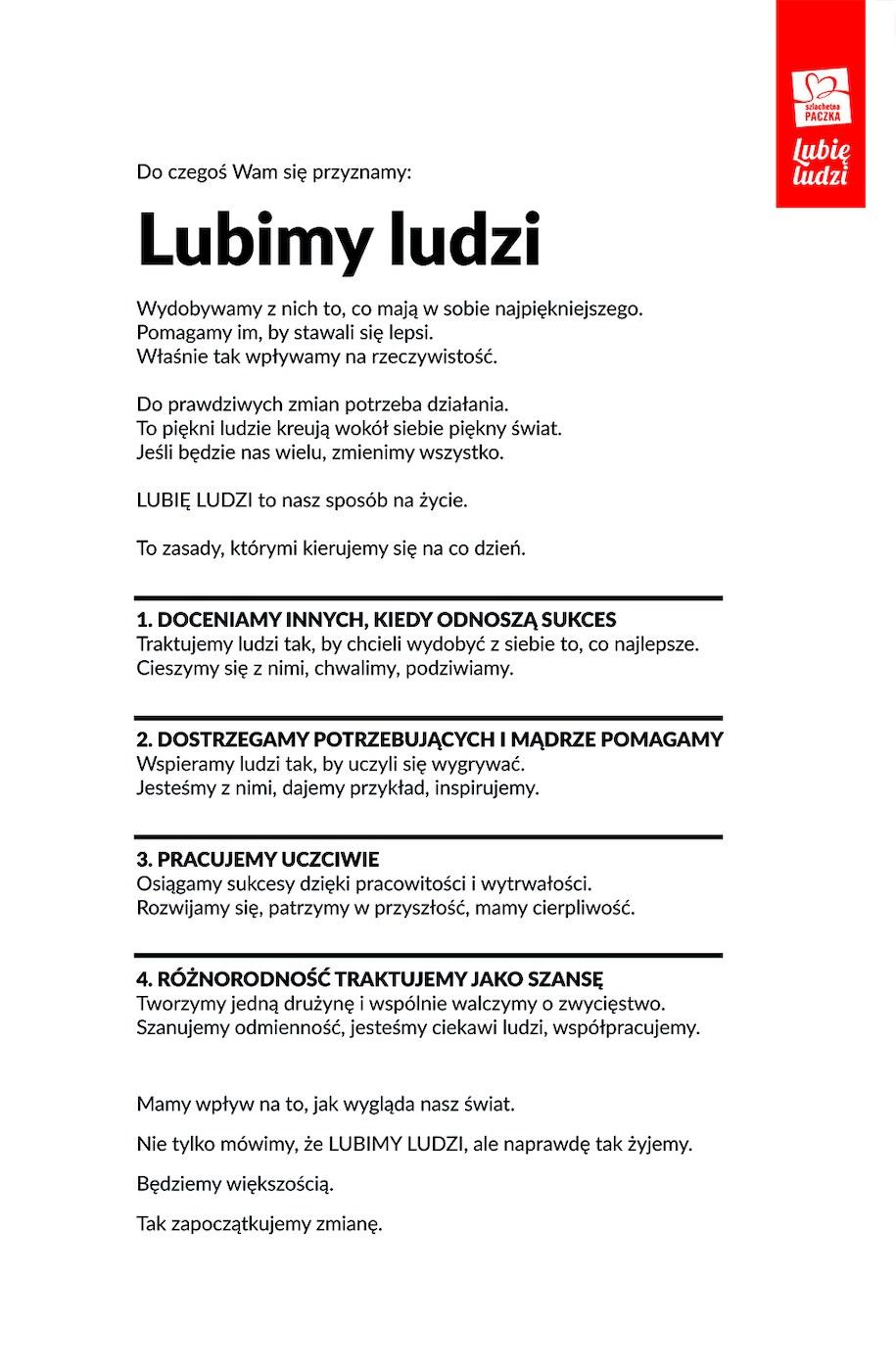 """Manifest """"Lubię Ludzi"""" /Szlachetna Paczka /"""