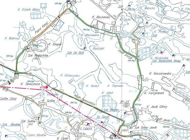 Mapa - Fragment projektowanej Trasy Górniczej na I poziomie kopalni soli w Wieliczce /Odkrywca