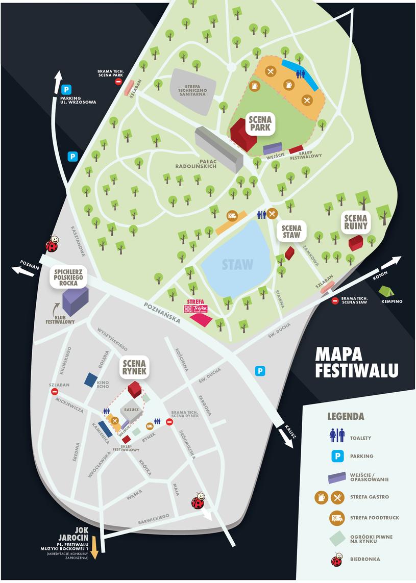 Mapa Jarocin Festiwalu 2017 /materiały prasowe