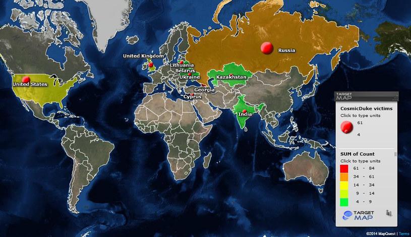Mapa ofiar szkodliwego oprogramowania CosmicDuke. /materiały prasowe