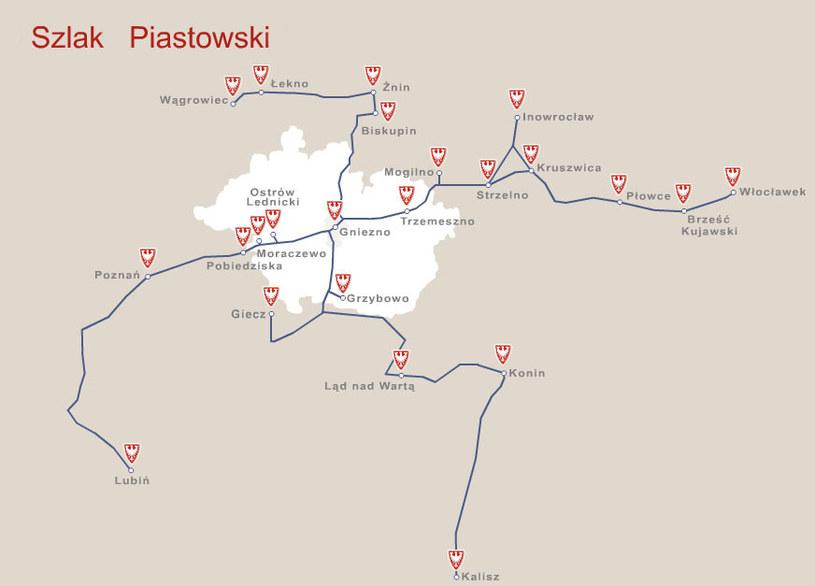 Mapa Szlaku Piastowskiego /&nbsp