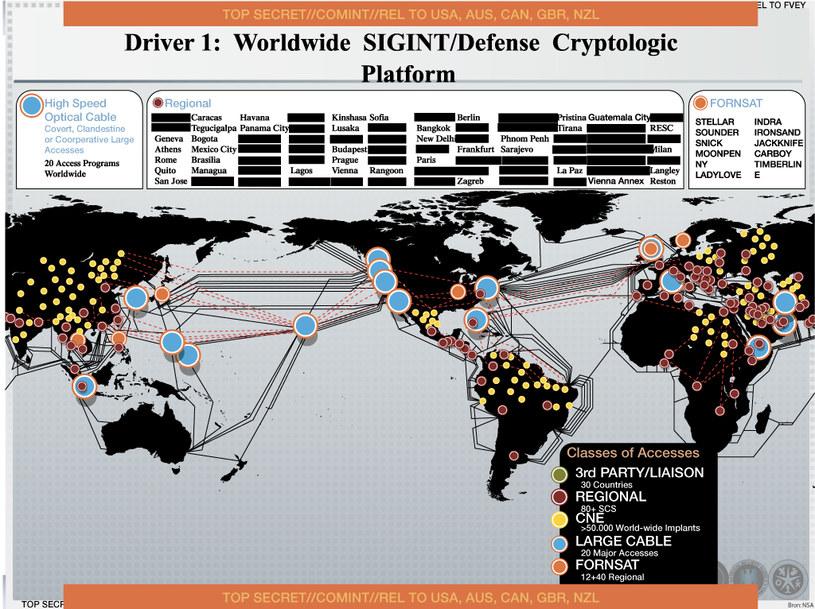 Mapa szpiegowskiej aktywności NSA zdobyta przez Edwarda Snowdena /materiały prasowe