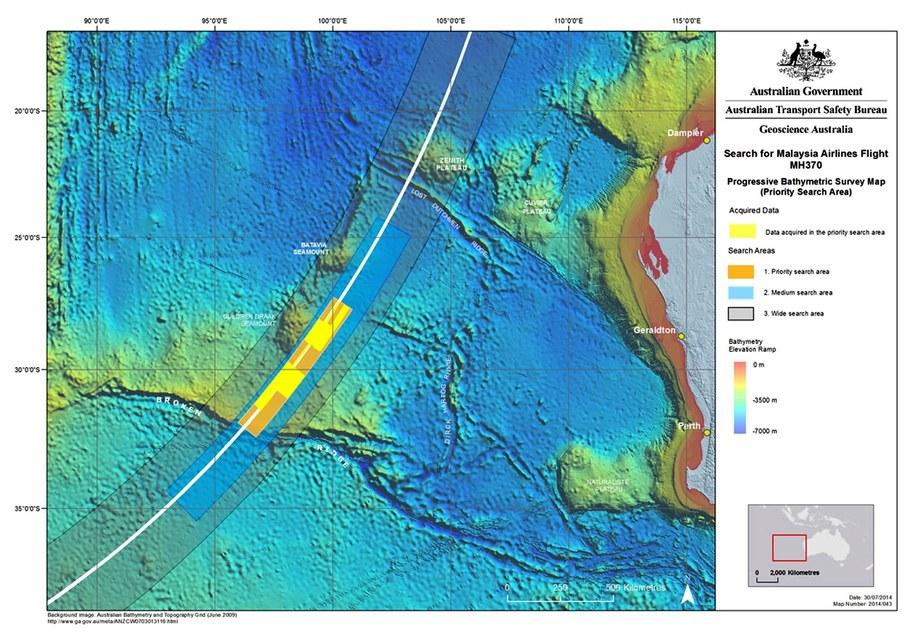 Mapa ukazująca dotychczasowy obszar poszukiwań zaginionego samolotu lotu MH 370, Australian Joint Agency Coordination Centre (JACC) / AUSTRALIAN JACC   (PAP/EPA) /PAP/EPA