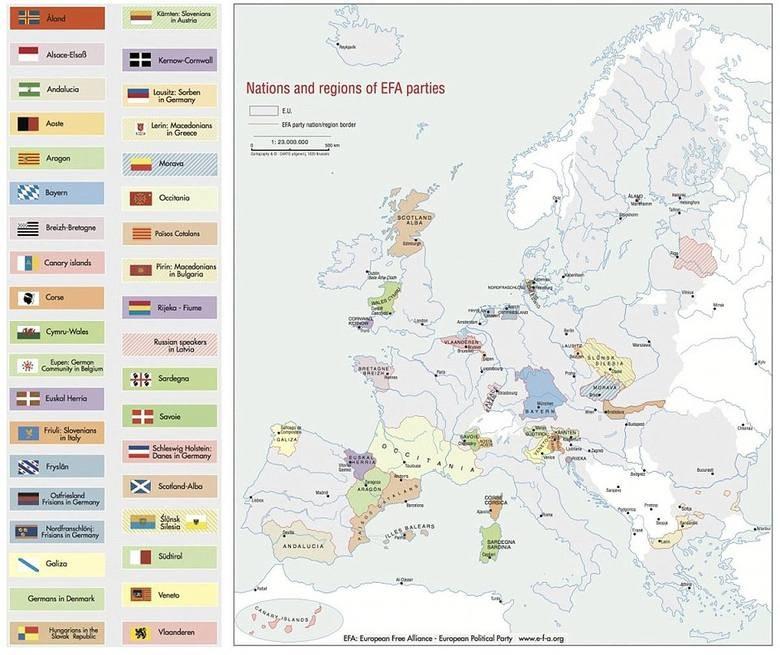Mapa w przybliżeniu określa dążenia separatystczne. Przygotowana została przez EUROPEAN FREE ALLIANCE, źródło: e-f-a.org /