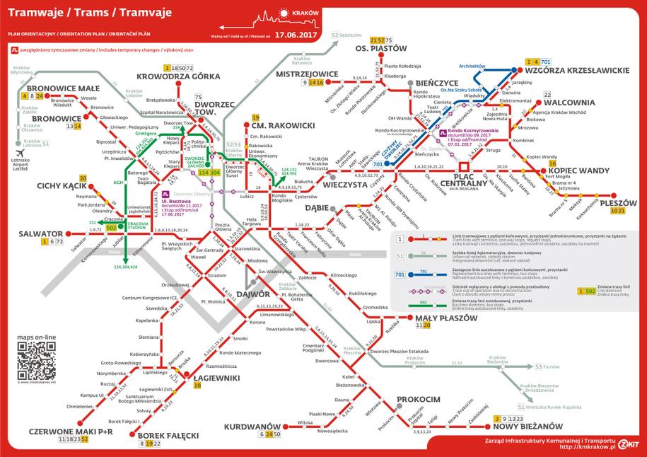Mapka ze zmianami w komunikacji związanymi z remontem /ZIKIT KRAKÓW /