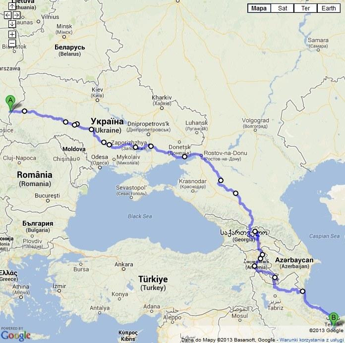 Marcin i Grzegorz pokonają 5028 km, fot: Google Maps /INTERIA.PL