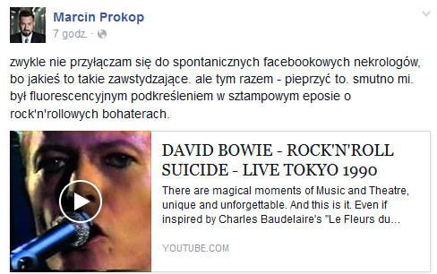 Marcin Prokop o śmierci Davida Bowiego /