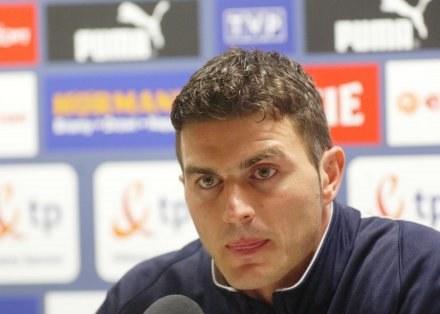 Marcin Żewłakow na konferencji prasowej przed meczem z Belgią /Darek Hermiesz/SPORT-FOTO