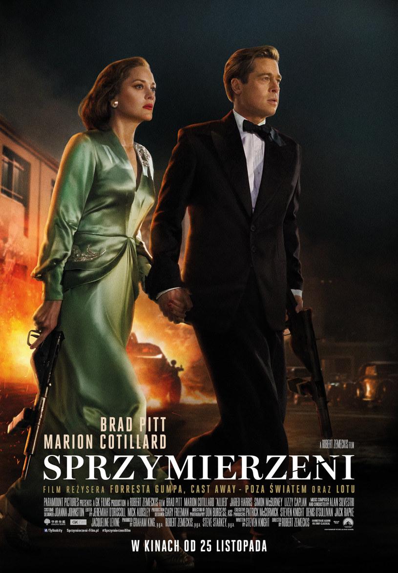 """Marion Cotillard i Brad Pitt na plakacie filmu """"Sprzymierzeni"""" /materiały dystrybutora"""