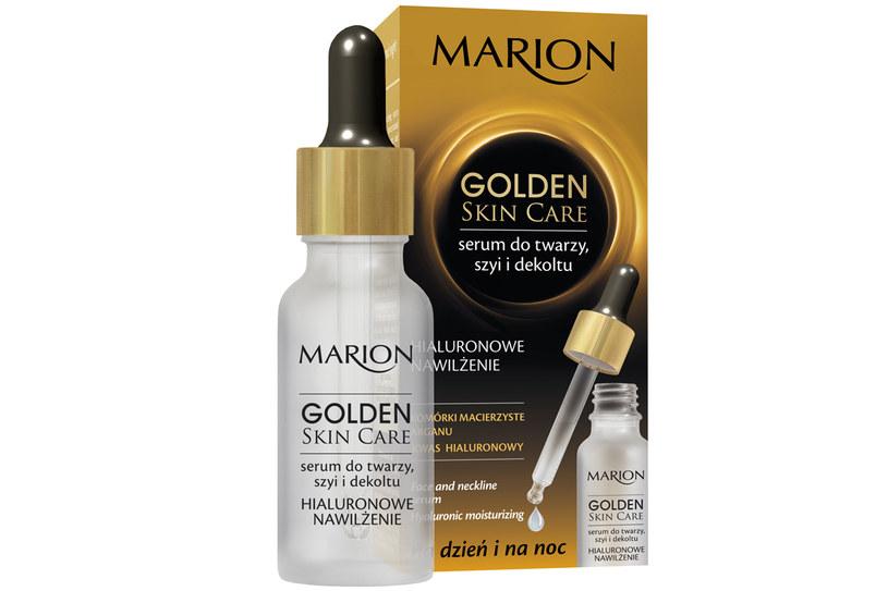 Marion: Serum do twarzy, szyi i dekoltu, Hialuronowe nawilżanie Golden Skin Care /materiały prasowe