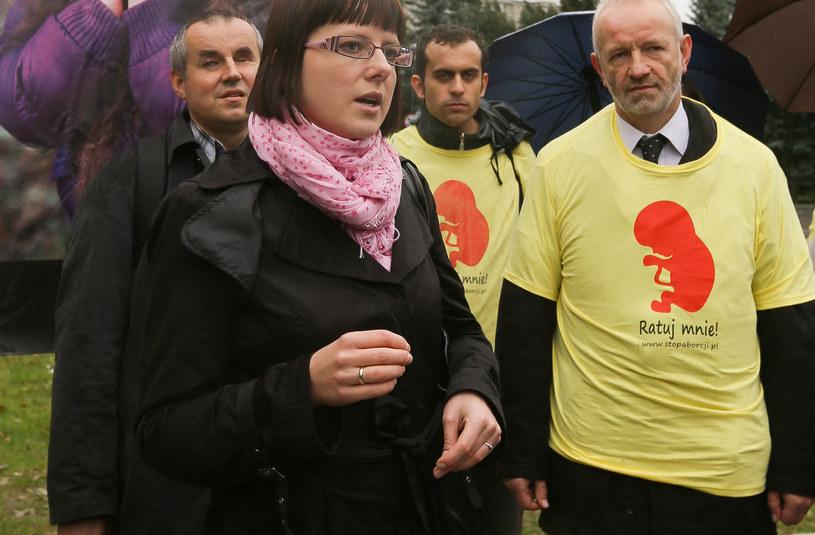 Mariusz Dzierżawski (z prawej) z Fundacji PRO i pełnomocnik Stop Aborcji Kaja Godek /Paweł Supernak /PAP
