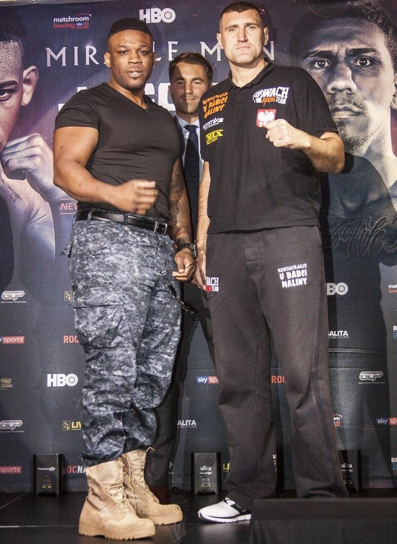 Mariusz Wach (z prawej) i Jarrell Miller /fot. Tomp1 /East News