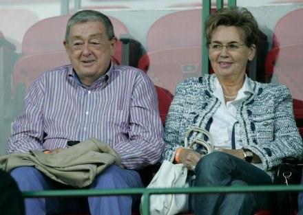 Mariusz Walter z żoną Bożeną na trybunach przy Łazienkowskiej /Agencja Przegląd Sportowy
