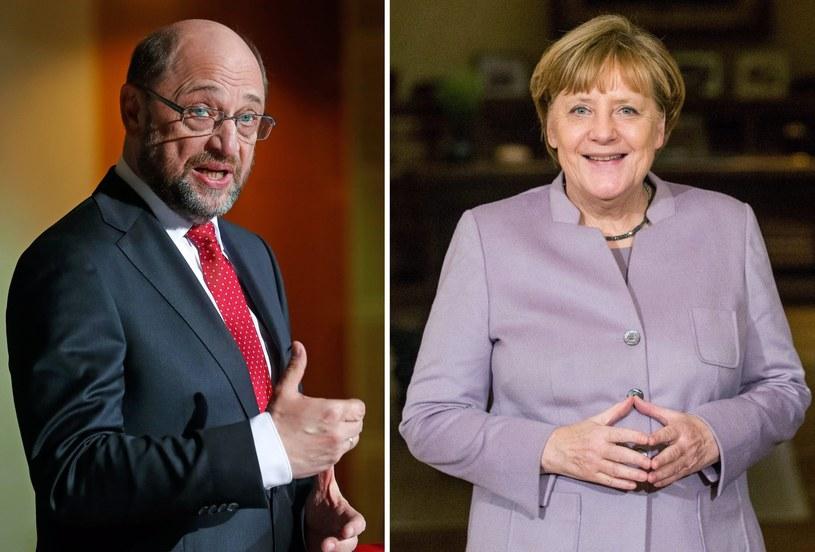 Martin Schulz i Angela Merkel /PAP/EPA