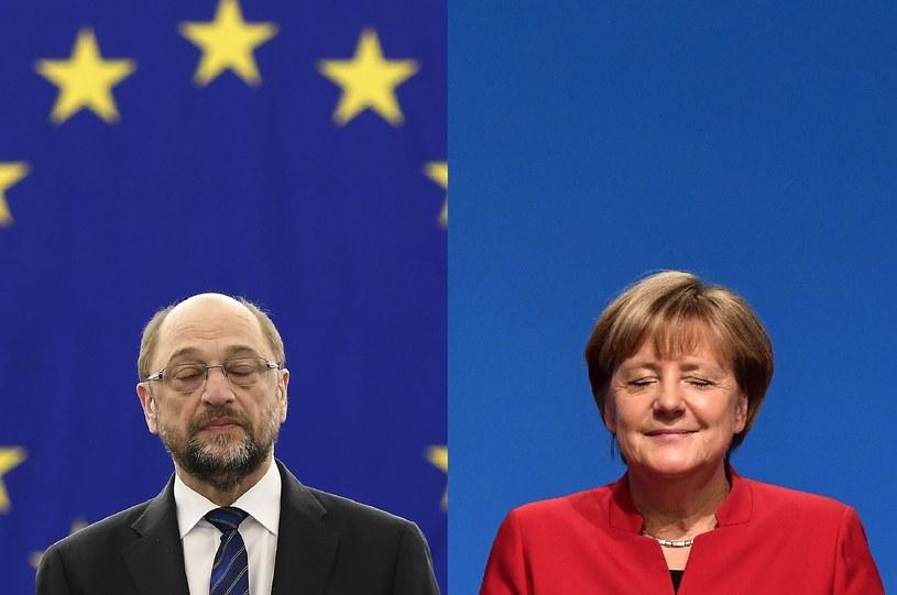 Martin Schulz i Angela Merkel /AFP