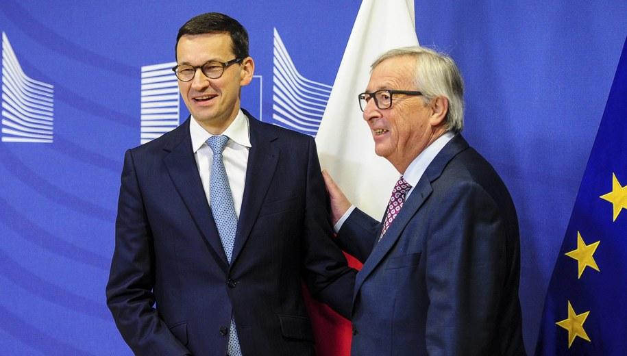 Mateusz Morawiecki i Jean-Claude Juncker /Wiktor Dąbkowski   /PAP