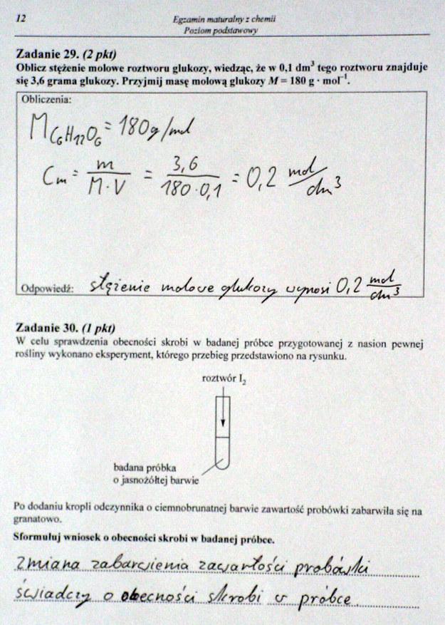 Matura 2014. Egzamin z chemii na poziomie podstawowym. Arkusz i rozwiązania /INTERIA.PL