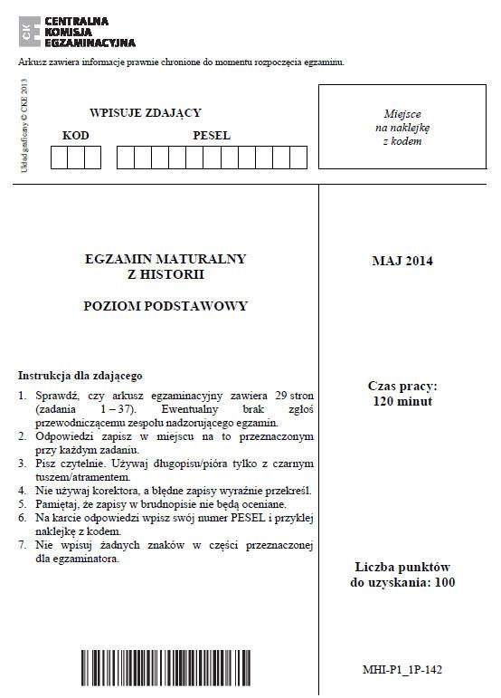 Matura 2014. Historia - poziom podstawowy. Arkusz i odpowiedzi /INTERIA.PL