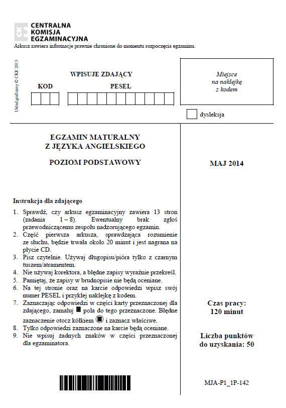 Matura 2014. Język angielski - poziom podstawowy /INTERIA.PL