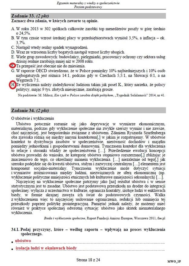 Matura 2016: WOS, poziom podstawowy /INTERIA.PL