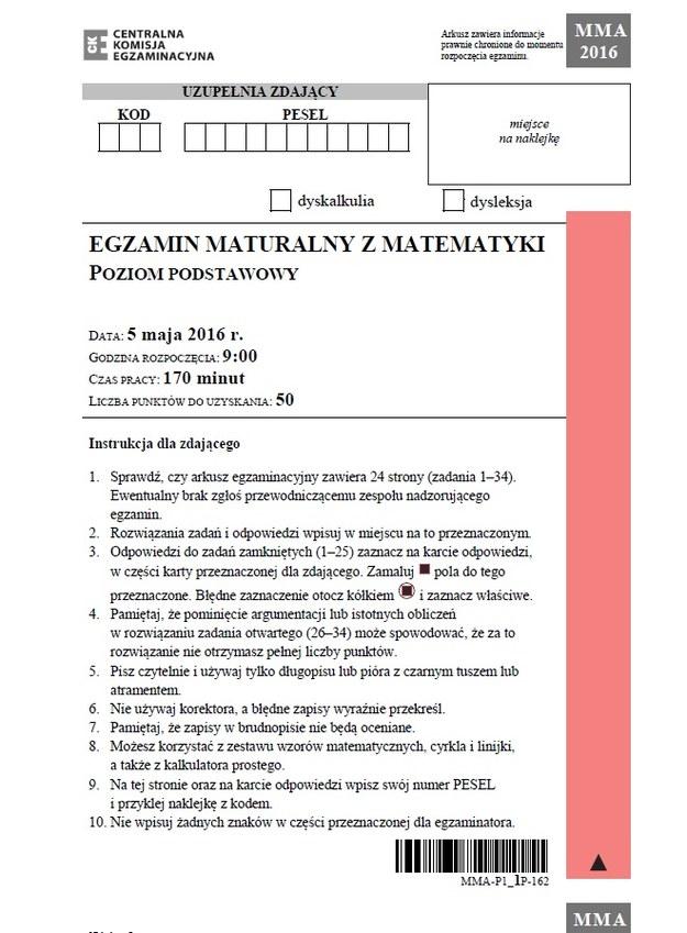 Matura z matematyki 2016 - poziom podstawowy /INTERIA.PL