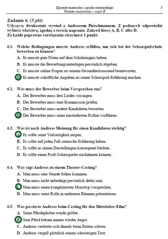 Matura z niemieckiego 2014. Poziom rozszerzony - arkusz i rozwiązania /INTERIA.PL