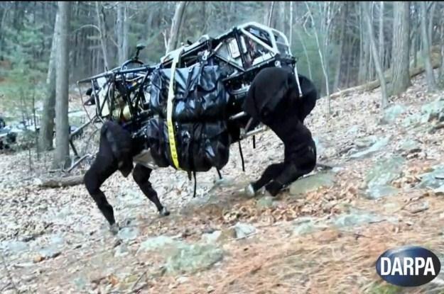 Mechaniczny muł do transportowania ciężkiego wyposażenia.    Fot. DARPA /materiały prasowe