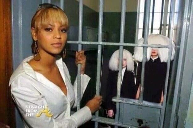 Mem z Sią, Maddie Ziegler i Beyonce /