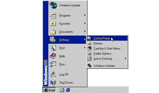 Menu Start - Windows 98 Fot. BusinessInsider.com /vbeta