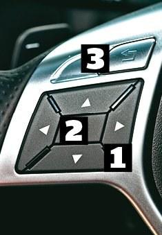 Mercedes Klawisze ze strzałkami [1] pozwalają poruszać się po dwuwymiarowym menu komputera. Klawisz [2] zatwierdza wybór, a [3] to wyjście z menu. /Motor