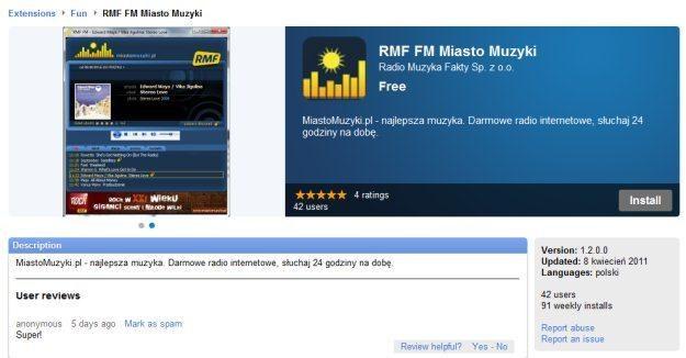 Miasto Muzyki w Google Chrome Web Store /RMF FM