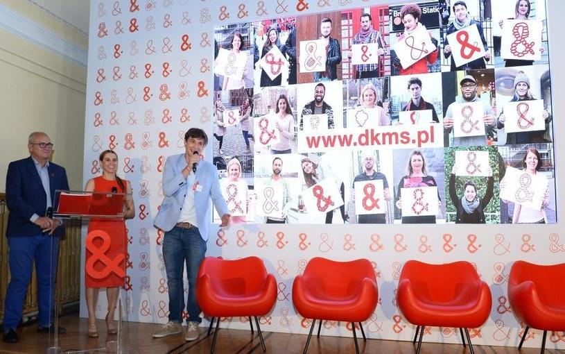 Michał Olszański (dziennikarz), Dorota Wójtowicz-Wielgopolan(Rzecznik Prasowy Fundacji DKMS), Mikołaj Roznerski (aktor) /materiały prasowe