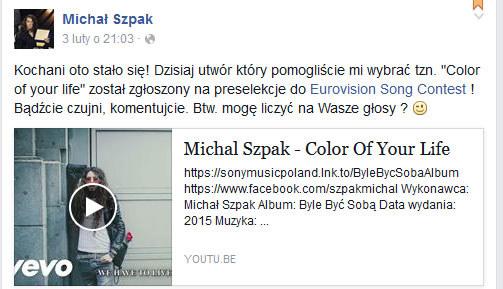 Michał Szpak na Facebooku /