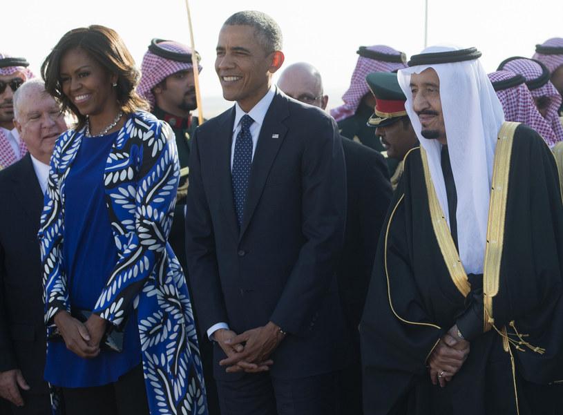 Michelle Obama podczas spotkania z królem Arabii Saudyjskiej /AFP