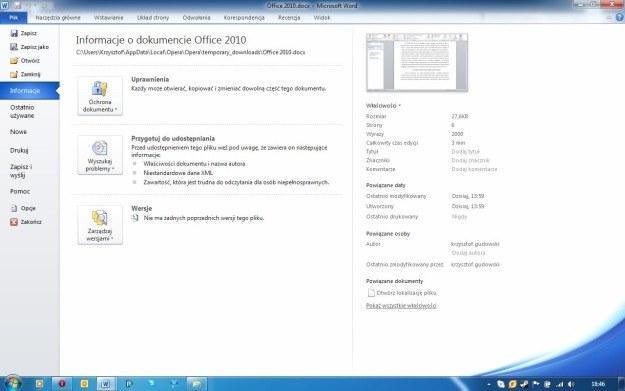 Microsoft Backstage zastąpiło znane z wcześniejszej edycji menu Orb /INTERIA.PL
