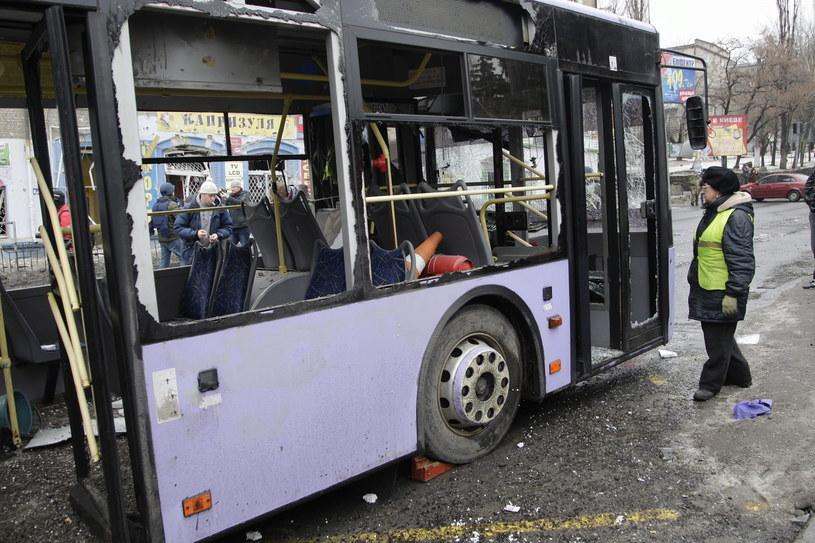 Miejsce wybuchu w Doniecku /PAP/EPA