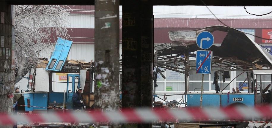 Miejsce wybuchu w Wołgogradzie /STR /PAP/EPA