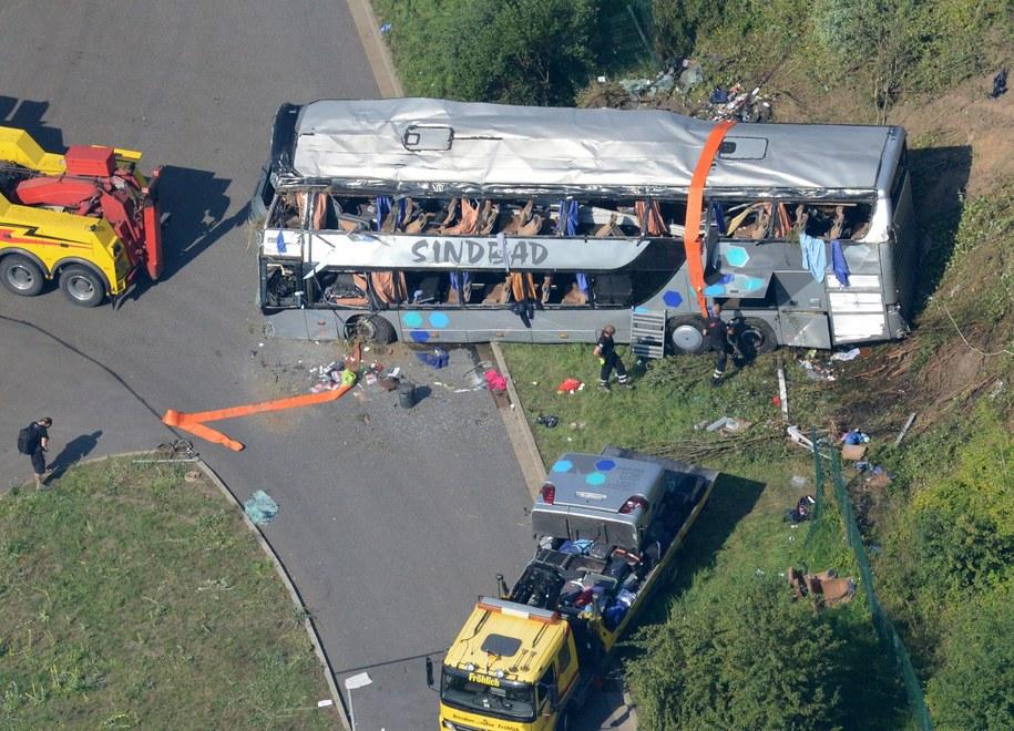 Miejsce wypadku na niemieckiej autostradzie /Matthias Hiekel   /PAP/EPA