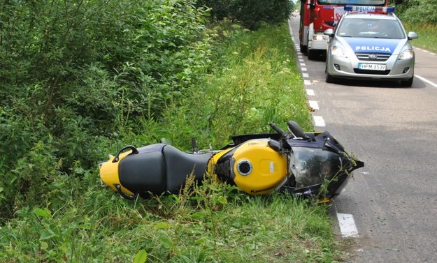 Miejsce wypadku z bocianem /Policja