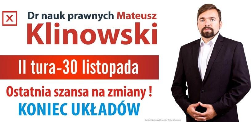 Mieszkańcy Wadowic postawili na Mateusza Klinowskiego /facebook.com