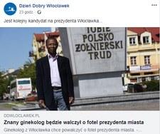Mieszkaniec Włocławka chce zostać pierwszym czarnoskórym prezydentem miasta w Polsce