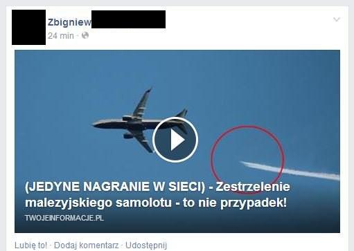 Miniatura newsa sugeruje, że został nagrany film z zestrzelenia samolotu /materiały prasowe