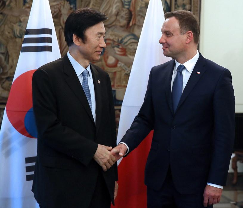 Minister spraw zagranicznych Korei Byung-se Yun podczas spotkania z prezydentem elektem Andrzejem Dudą /Tomasz Gzell /PAP