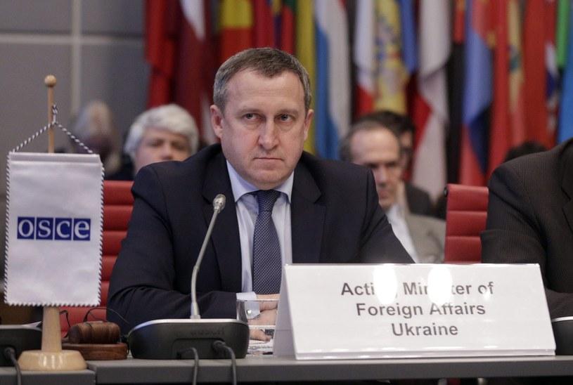 Minister spraw zagranicznych Ukrainy Andrij Deszczyca na posiedzeniu OBWE w Wiedniu /PAP/EPA